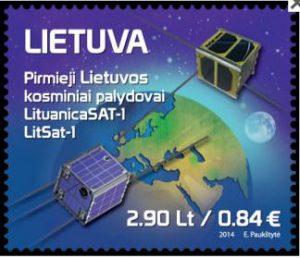 """Ant pašto ženklo įamžintas KTU sukurtas kosminis palydovas """"LitSat-1"""""""